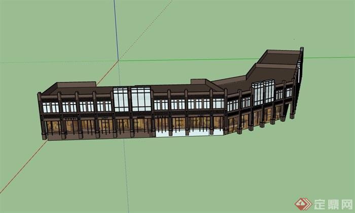 新古典风格两层商业楼su模型