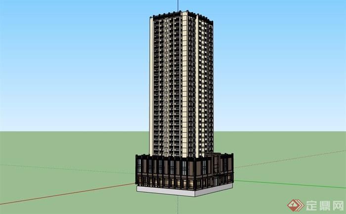新古典风格详细的商业住宅高层建筑楼su模型