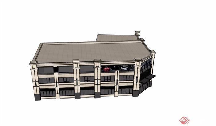 新古典风格商业多层建筑su模型