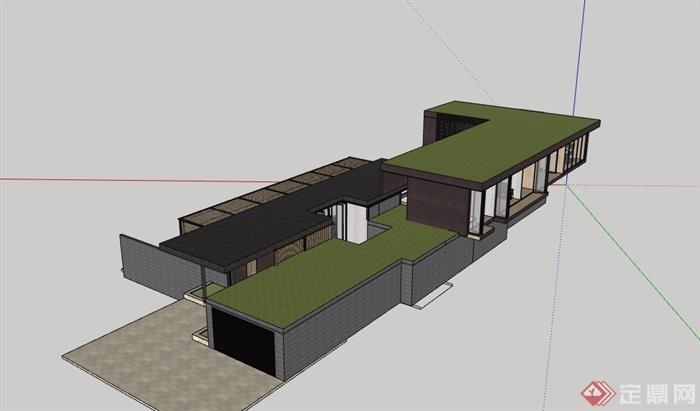 详细的两层住宅私人别墅su模型