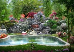 温泉自然山石泡池效果图