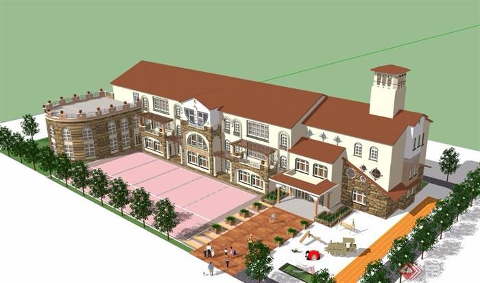 幼儿园多层欧式建筑设计su模型