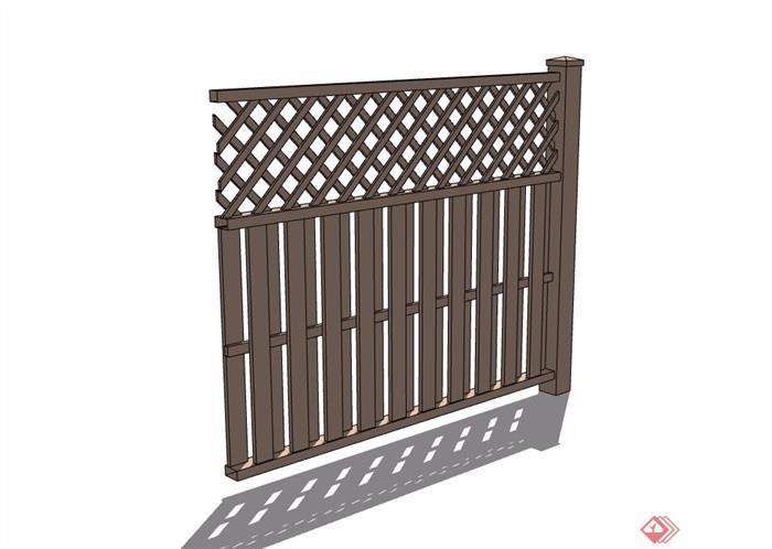 现代详细的防腐木栏杆su模型