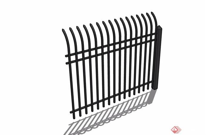 某铁栏杆围墙素材设计su模型