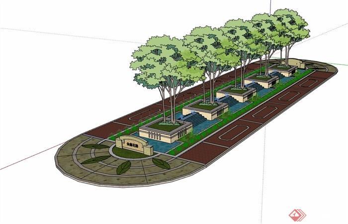 喷泉水池树池景观设计su模型
