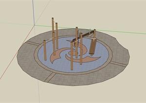 游乐设施场地及器材设计SU(草图大师)模型