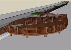 观景木栈道及栏杆素材设计SU(草图大师)模型