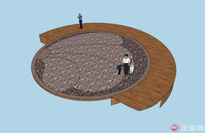 详细的地面铺装素材设计su模型