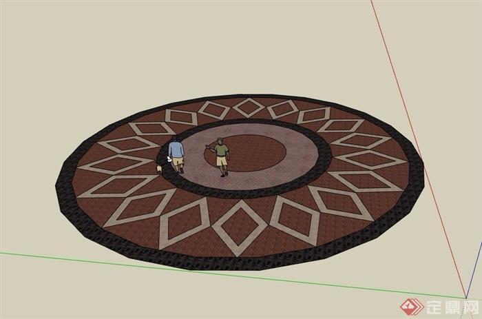 详细完整的地面铺装拼花素材设计su模型