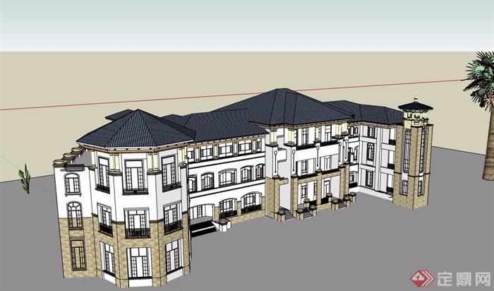 三层欧式风格幼儿园建筑su模型