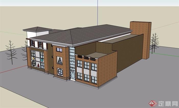 三层详细的欧式幼儿园建筑设计su模型