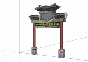 古典完整的牌坊设计SU(草图大师)模型
