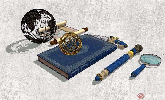 精品书房装饰摆件素材设计su模型