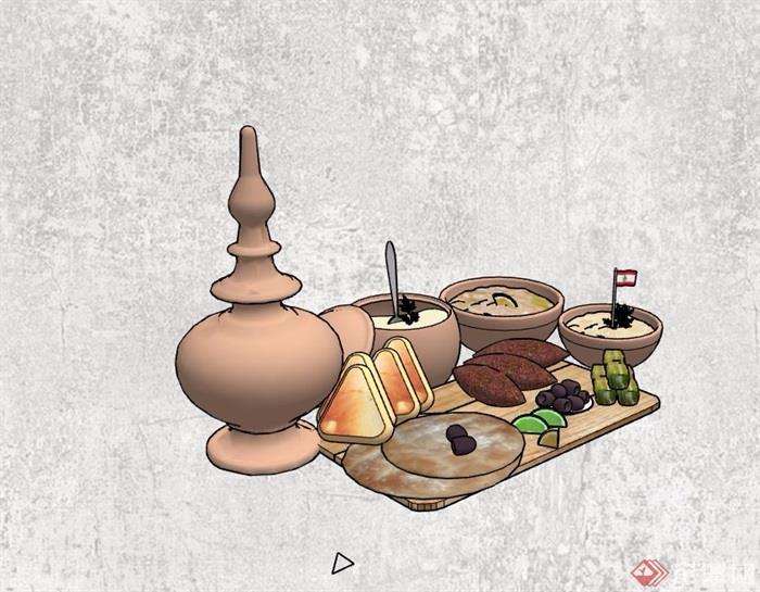 精品摆件食物素材设计su模型