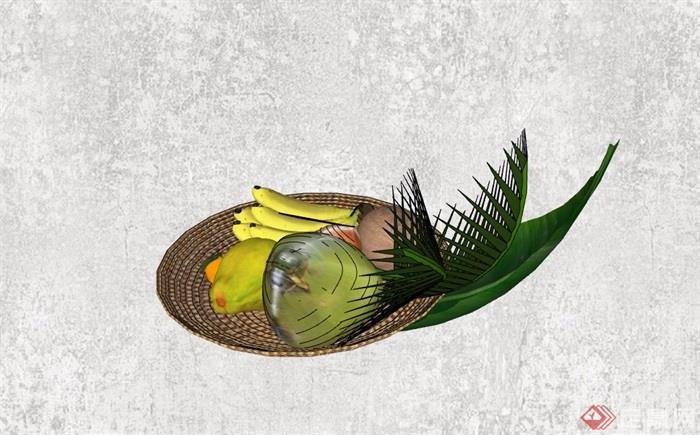 精品摆件果盘及果汁素材设计su模型