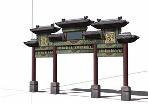 古典中式详细的牌坊素材设计SU(草图大师)模型
