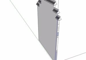 马头墙素材设计SU(草图大师)模型