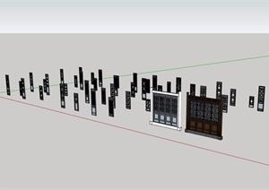 雕花窗多个详细设计SU(草图大师)模型