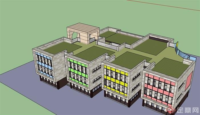 详细的三层幼儿园教育建筑设计su模型