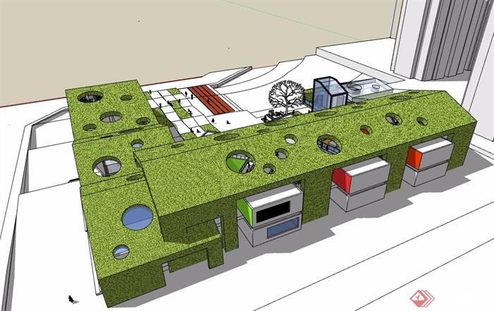 某详细六班幼儿园教育建筑设计su模型图片