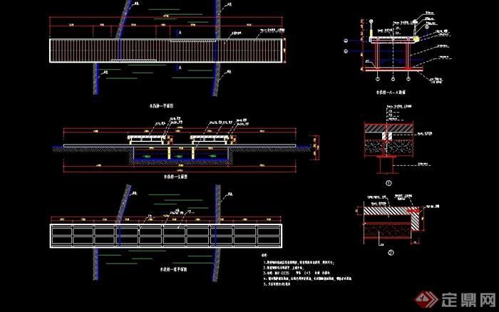 详细完整的木栈桥移动cad施工图gdi圆测试设计可绘制图片