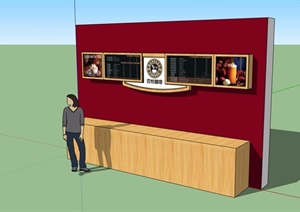 某餐饮指示牌设计SU(草图大师)模型