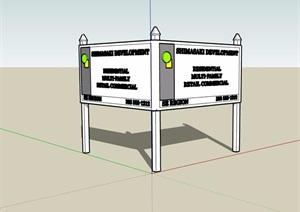 欧式无材质贴图指示牌SU(草图大师)模型