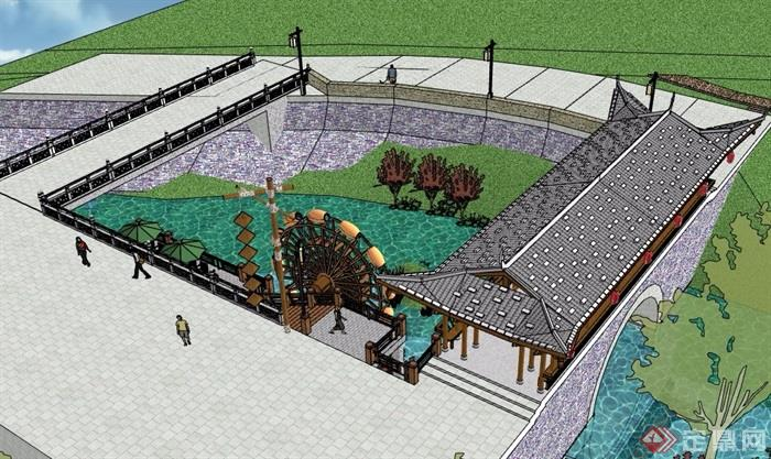 廊桥,水车,伞桌椅,楼梯栏杆素材设计su模型
