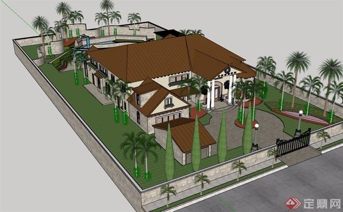 欧式风格两层详细别墅建筑设计su模型含庭院