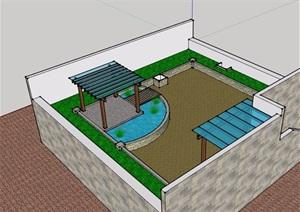 某详细的庭院花园SU(草图大师)模型