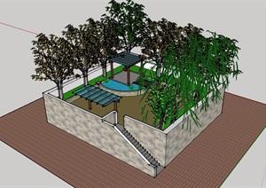 现代简单庭院花园模型