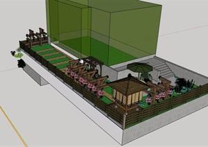 中式独特庭院花园模型