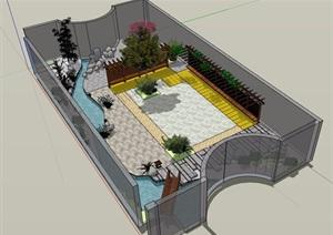 详细独特庭院花园模型