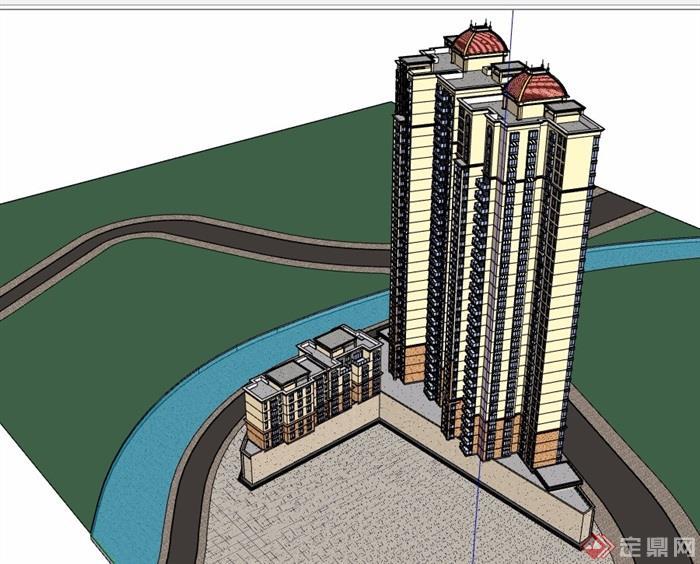 欧式高层商业住宅楼建筑su模型