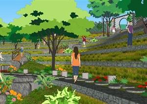 农村梯田式风格景观地台SU草图大师模型