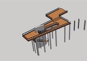 中式风格详细的观景平台SU(草图大师)模型