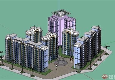 多栋详细的小区高层住宅楼设计su模型