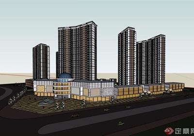 某详细的商业住宅小区楼设计su模型