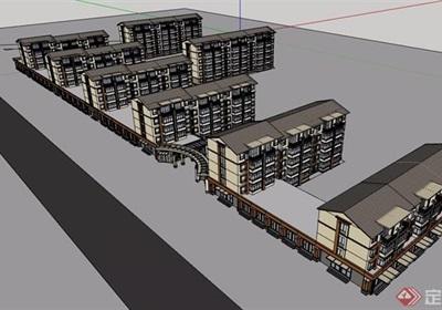 多层详细的商住及住宅小区楼设计su模型