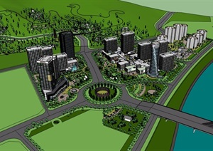某详细完整的城市建筑及景观设计SU(草图大师)模型