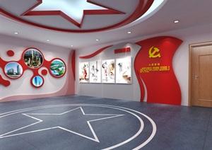 小型党建荣誉展厅3D模型及效果图