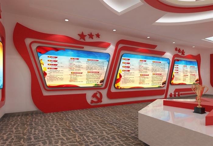 党建展厅系列展馆3D模型及效果图(4)