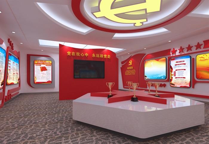 党建展厅系列展馆3D模型及效果图(5)