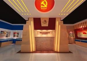 公安派出所警营文化展示展厅党建展馆中心3D模型及效果图