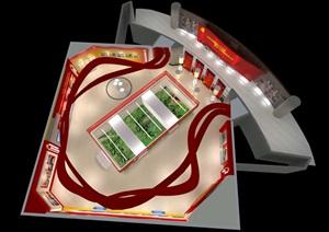 党建宣传展厅设计3D模型及效果图