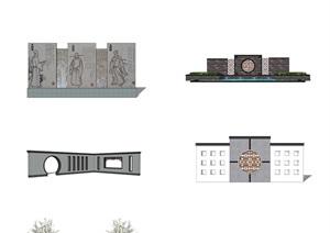 多款現代新中式景墻SU(草圖大師)模型