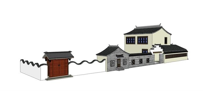 民居172徽派仿古建筑商业街景墙围墙古建四合院民居民宿农村su模型