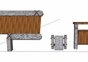 中式风格标志牌及垃圾箱SU(草图大师)模型素材