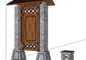 中式风格宣传牌及景灯设计SU(草图大师)模型