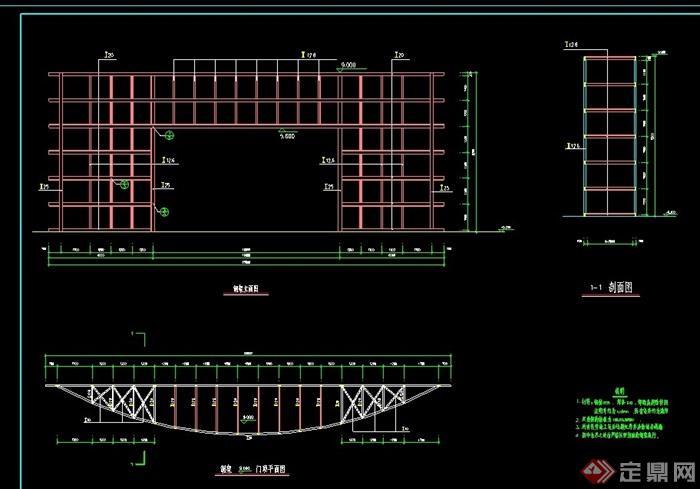 钢结构廊架素材设计cad施工图